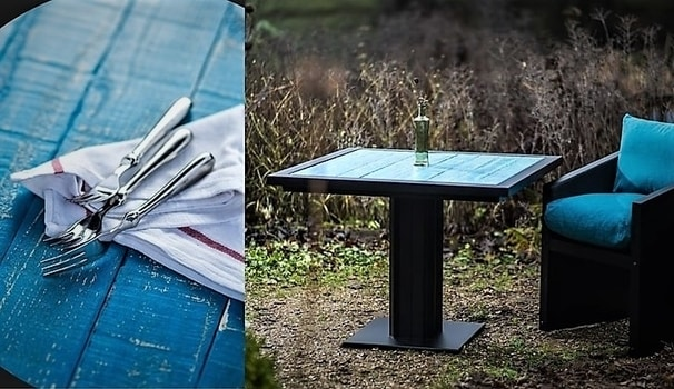 Blue Industrial style Bistro table