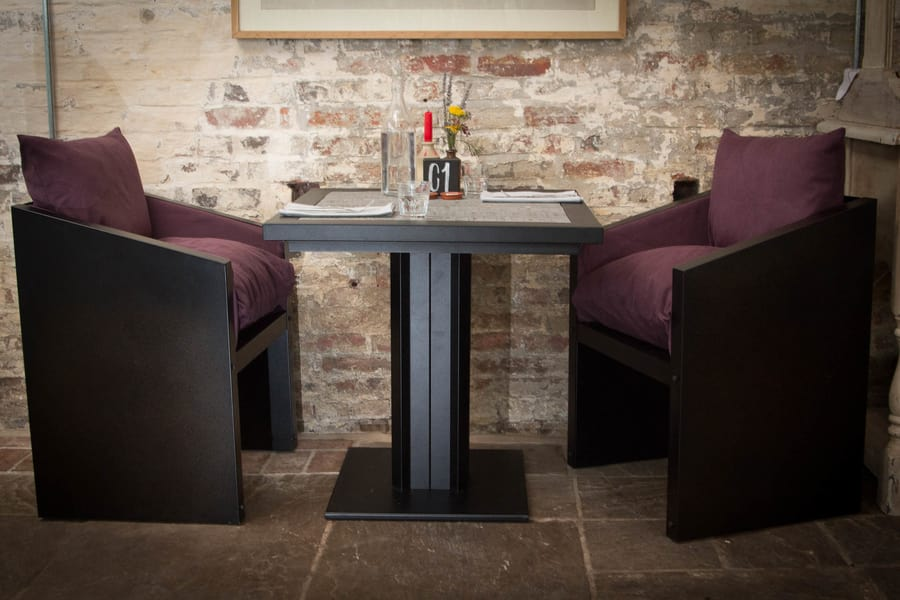 Industrial style bistro table and chairs