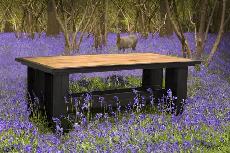 image-Industrial Oak and Metal  Sustainable Outdoors Table