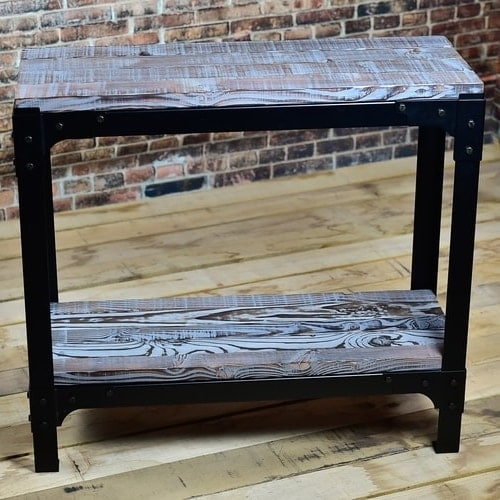 Small country rustic blue industrial console table