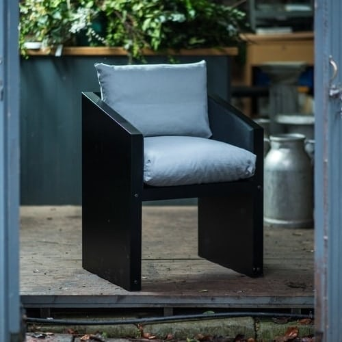 Garden or dining chair with grey cushions