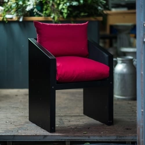Ironfire red dining chair or garden chair with red cushions