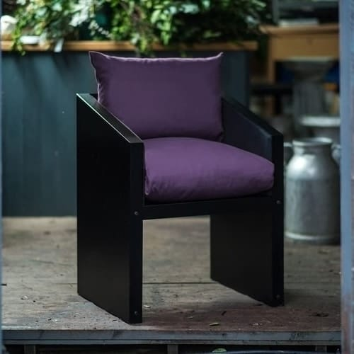 Garden and dining chair with purple cushions