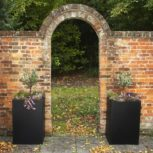 Autumn Planters with Flowers by Brick Wall