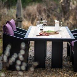oak table purple chairs