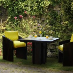 yellow bistro table and chair