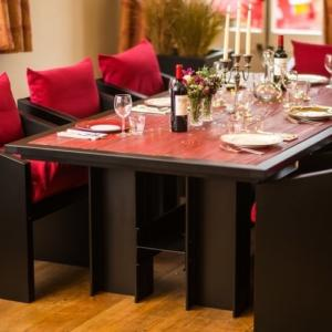 Red industrial style home dining table