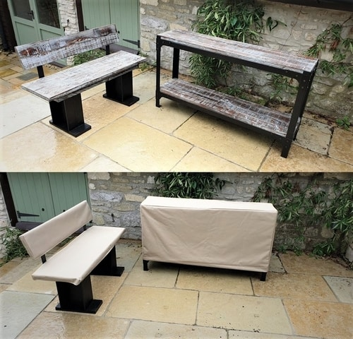 bench and console with covers
