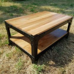 oak industrial style coffee table