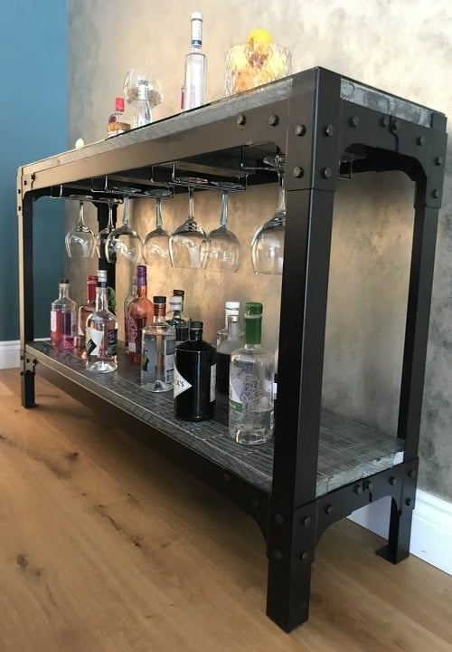 Gin Table with bottles and glasses