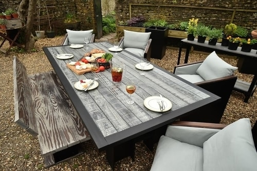 Grey Garden Dining Table, Bench, Chairs